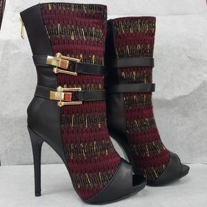 """Knit mid calf open toe 5"""" heel ankle boots new"""